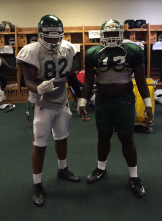 Jalen Hodges - Tight End (left) from King College Prep & Willie Clay - Defensive Tackle (right) from Hubbard HS. Both players graduated in 2014 and currently playing for Mississippi Valley State University